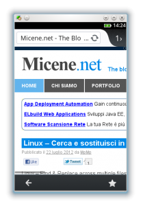 Micene.net su Firefox di Firefox OS